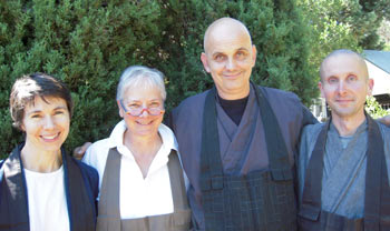 (l) Sessei Meg Levie, teacher at Bolinas; Kiku Christina Lehnherr, teacher at San Rafael; Shinko Rick Slone, teacher at California Street in San Francisco; and Luminous Owl Henkel, past teacher at Bolinas.
